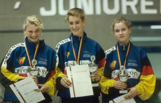 Siegerehrung DM 1993 – Tanja Markmann, Sandra Schlosser und Christine Sixt